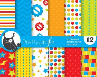 80% OFF SALE Toy robot paper digital papers, commercial use, scrapbook papers, background - PS694