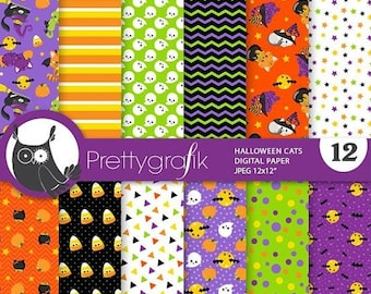 80% OFF SALE Halloween cats digital paper, Sugar Skulls commercial use,  scrapbook papers, background, ghost - PS888