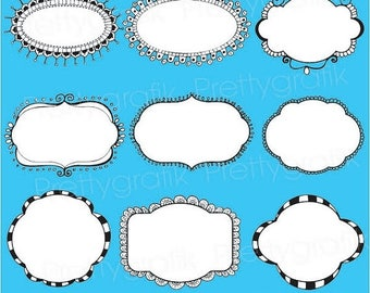 80% OFF SALE label frames clipart commercial use, vector graphics, digital clip art, digital images - CL541