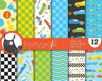 80% OFF SALE race car digital paper, commercial use, scrapbook papers, background - PS646