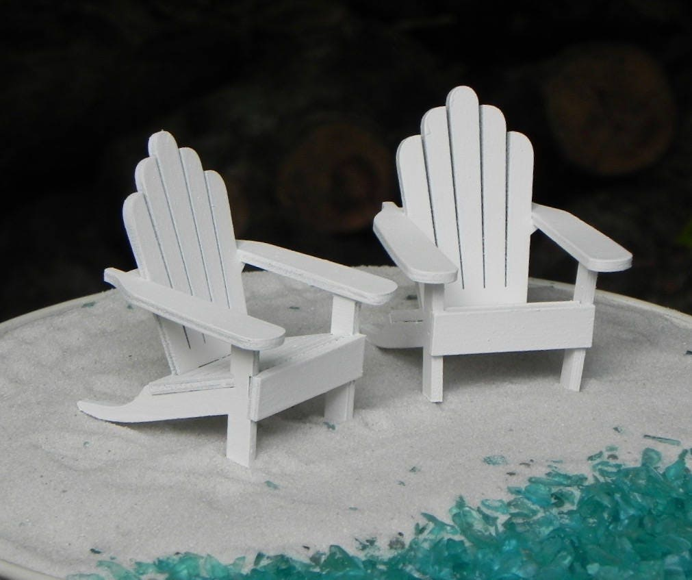 Miniature Adirondack Chair Handcrafted Wooden Painted White