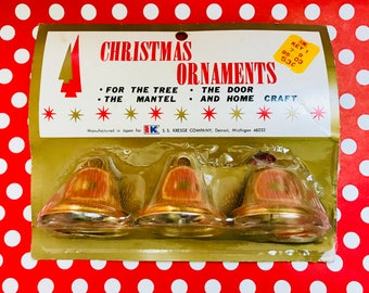 Vintage Gold Metal Christmas Holiday Bells Ornaments