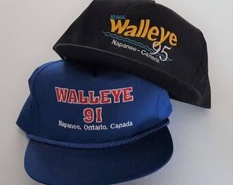 Vintage Lot (2) Trucker Style Snapback & Strapback Hats VTG
