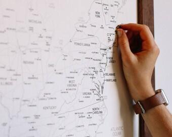 United States Map, Push Pin Travel Map, Push Pin Map, US Map, US Map Push Pin, Travel Map, Gifts for Dad, Anniversary Gift, Personalized Map