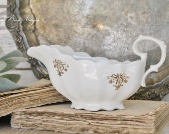 Antique  White Ironstone Gravy Boat Gold Farmhouse Decor Fixer Upper Decor