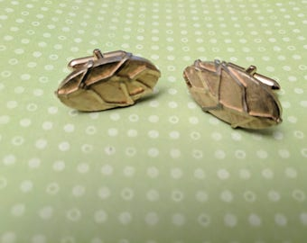 Swank Cuff Links Gold Tone Leaf Leaves
