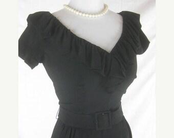 On sale Vtg 50s 60s Mr Mort Designer Womens Vintage Black Bombshell Wiggle Dress W 25