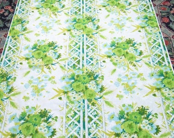 6 Yards Cotton Fabric Lime Green Flowers on Trellis