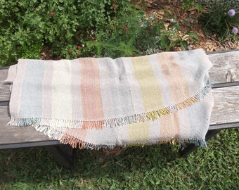 """Handwoven Sparkly Rainbow Striped Blanket 31"""" by 29"""" made of Bamboo, Nylon, and Linen"""