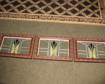 """ANTIQUE STAINED GLASS From England Set Of Three Reframed In Detailed Frames 20 1/2"""" x 14 1/4"""" Clear Glass Red And Green Middle Design"""