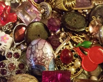 Vintage Purple and Pink Mix Baubles Jewelry Destash Inspiration Upcycle Mix Lot