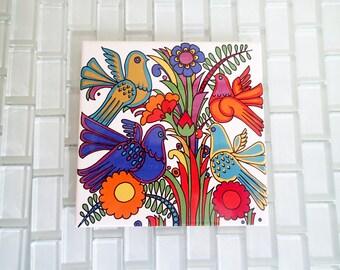 "Villeroy & Boch Acapulco Tile Trivet 6"" x 6"" Mod Bird Flower Tile"
