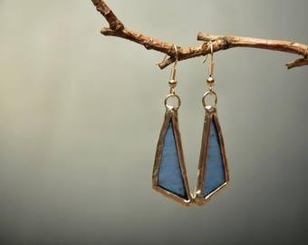 statement glass earrings, girlfriend gift, tin geometric jewelry, boho earrings, womens gift, rustic earrings hippie dangle earrings