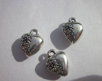 3 charms heart shaped silver 12mm-(6139)