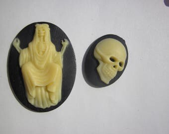 2 resin cameos craft pattern Ghost and skull (3)