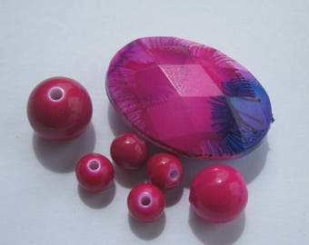 7 oval and round acrylic beads 8-37 mm (PV5-9)
