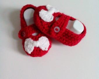 wool Baby Slippers handmade in crochet
