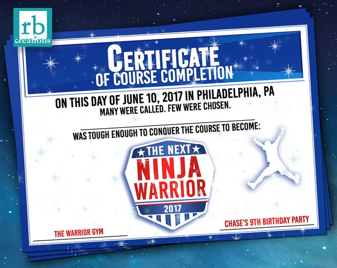 PRINTED Ninja Warrior Certificate, Ninja Warrior Party Favor, Ninja Warrior Birthday Party, Ninja Party - Printed Party Certificate