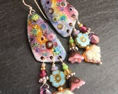 West Coast Wildflowers, Enameled Copper Dangle Earrings, Pastel Flowers, Bohemian Chic, Summer Fashion, Treasure Earrings, Birthday Gift