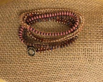 Multi colored, pink, wine, copper, brown wrap bracelet