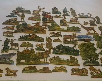 RARE Vintage paper/cardboard lithograph toys Hunting set of 50. Animals