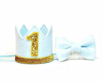 Boy Birthday Crown And Bow Tie Set ||  1st Birthday Party Hat || First Birthday Crown|| Boy Birthday Outfit || Light Blue + Denim