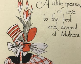 Adorable MOTHERS CARD…1930's Art Deco Hand Painted, a Buzza Greeting Card, Unused