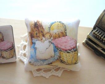 dollhouse beatrix potter cushion pillow hunca munca mouse 12th scale miniature