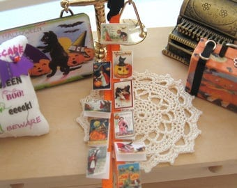 dollhouse halloween card wall display ornament 12th scale miniature