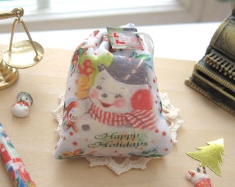 dollhouse christmas toy sack snowman 12th scale miniature