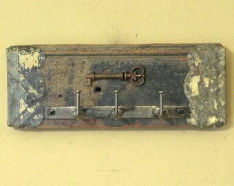 Bent-Nail Wall Key Holder with Real Skeleton Key Wall Hanging - Ready-to-Ship Shabby Chic Key Rack, Key Hanger, Key Storage