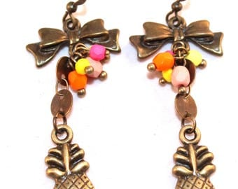 Tropical pineapple, knots and beads cluster earrings