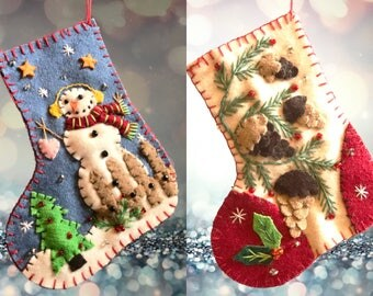 Christmas Handcrafted snowman / pine cone stocking felt Christmas tree decoration/primitive felt hanging ornament felt / felt ornament