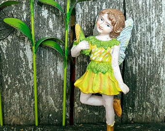 Corn Fairy Figure - Harvest Farm Fairy Garden Figurine Flower Fairies Miniature Garden Accessories Fall Yellow Fairy