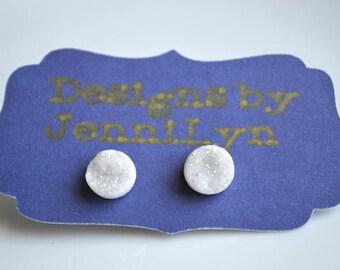 Snow White DRUZY Stud Earrings- Natural Druzy Earrings- 10mm Studs- Stud Earrings