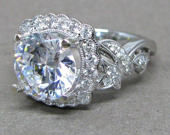 Forever One 9mm Round Moissanite Vintage Style Diamond Engagement Ring 14k White Gold 3.20ct Total Weight