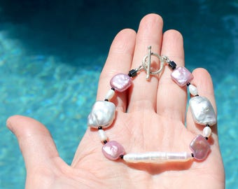 Lavender and Gray Freshwater Pearl Bracelet with Sterling Clasp