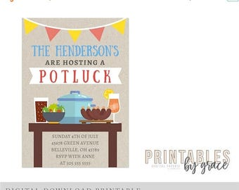 ON SALE DIGITAL Invitation custom Potluck backyard bbq barbecue Pdf invite printable download Party house house waming