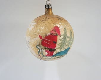 """Vintage Christmas Ornament, Large Glass Mercury Ornament, Gold Dirty 3.5"""" Hand Painted Santa Reindeer Holiday Decor, Made Poland, Free Ship"""