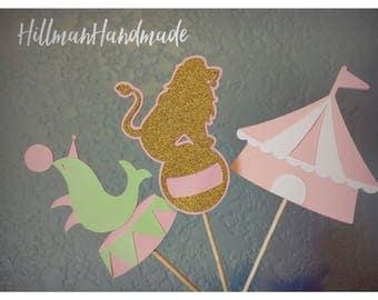 Circus Cupcake Toppers, Carnival Cupcake Toppers, Circus Treat Toppers, Circus Themed Cupcake Toppers