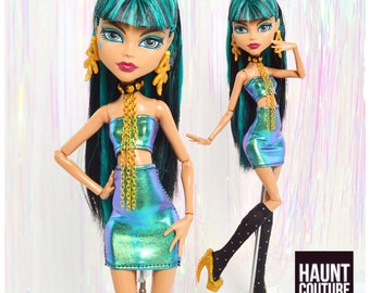 """Monster Doll Haunt Couture 2017 """"Oil Slick 2 piece"""" high fashion doll clothes"""