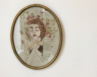 Framed Machine Embroidery, Freemotion Embroidery, Girl with Bird, Hand Painted Detailing, Ready to Ship