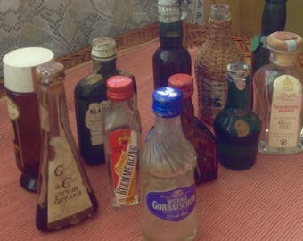 Vintage minature liquor bottles lot of ten