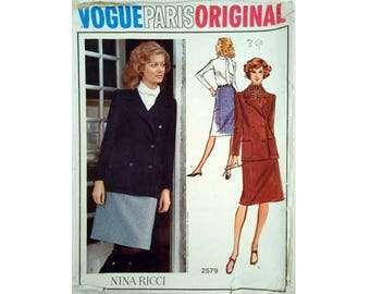 Part UNCUT Vintage Vogue Paris Original #2579 Nina Ricci Double Breasted Peacoat Jacket, Bow Blouse and Skirt Sewing Pattern Size Bust 38""