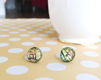 Pink and Green Glass Earrings | Fused Glass Stud Earring | Dichroic Glass Stud Earring  | Glass Stud | Pink Fused Glass | Sterling Silver