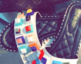Multicolor Studded Bling Sandal Slippers