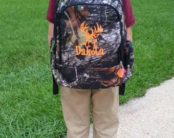 Boys Monogrammed Woods Camo Backsack and Insulated Lunch Bag **Padded Tablet/Laptop Compartment  *Prices vary for each piece/set