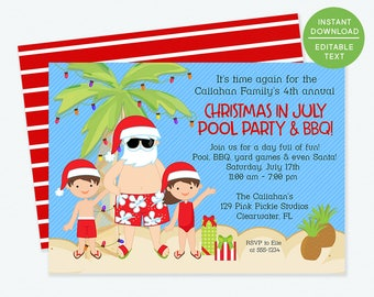 Christmas in July Invitation, Christmas in July, Summer Christmas, Summer Santa, Santa in July, xmas July, July Christmas   129