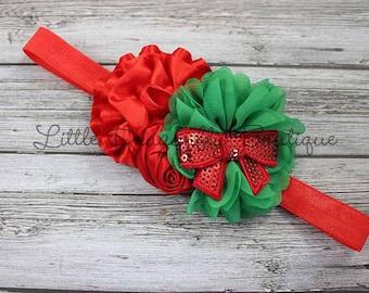 Red and green Christmas headband {Christmas bow headband, toddler headband, fancy Christmas headband}