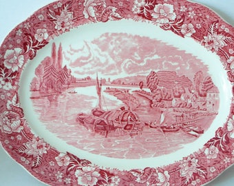 Palissy THAMES RIVER Scenes large serving plate red white Transferware / oval English dish / traditional landscape of London